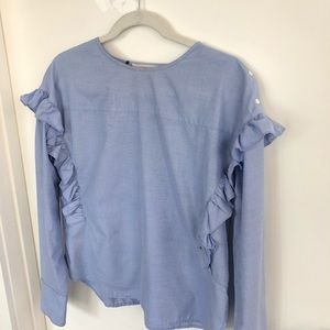 Blue cotton top with frills